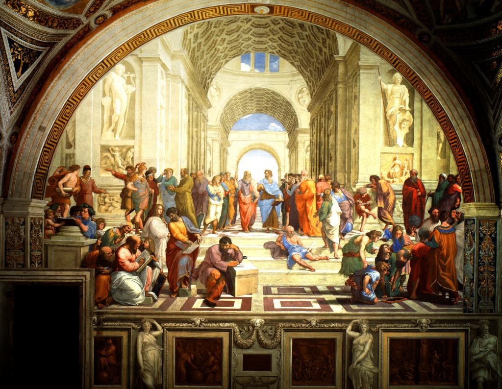 The School of Athens by Raphael (1509–1510), fresco at the Apostolic Palace, Vatican City.
