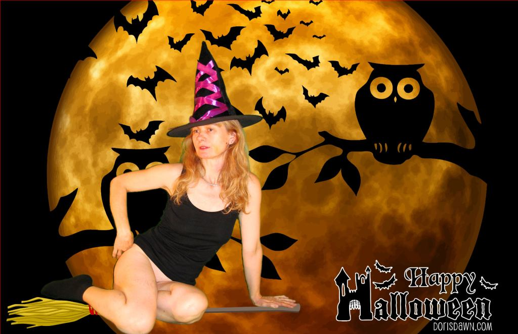 Riding my broom, wishing you a Happy Halloween!!