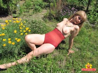 Topless, flower power.