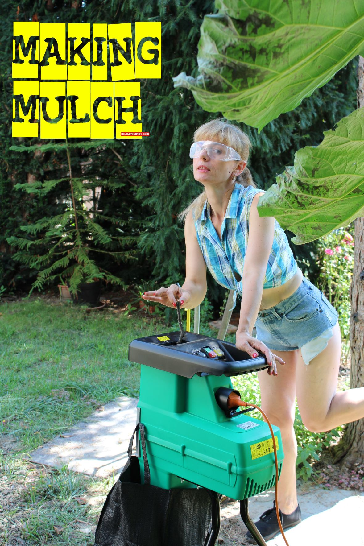 Doris makes mulch of wood chips.