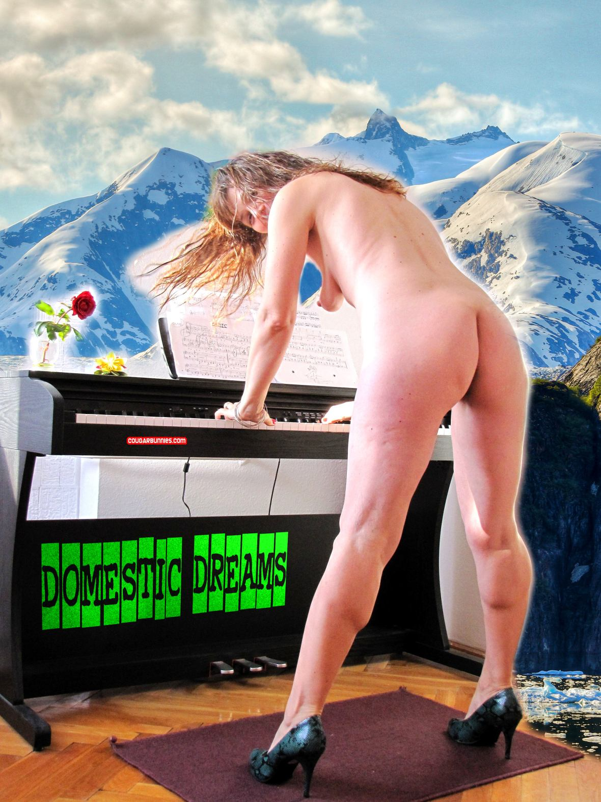 Domestic dreams with Doris Dawn - wet hair, playing the piano, or so. CougarBunnies.com