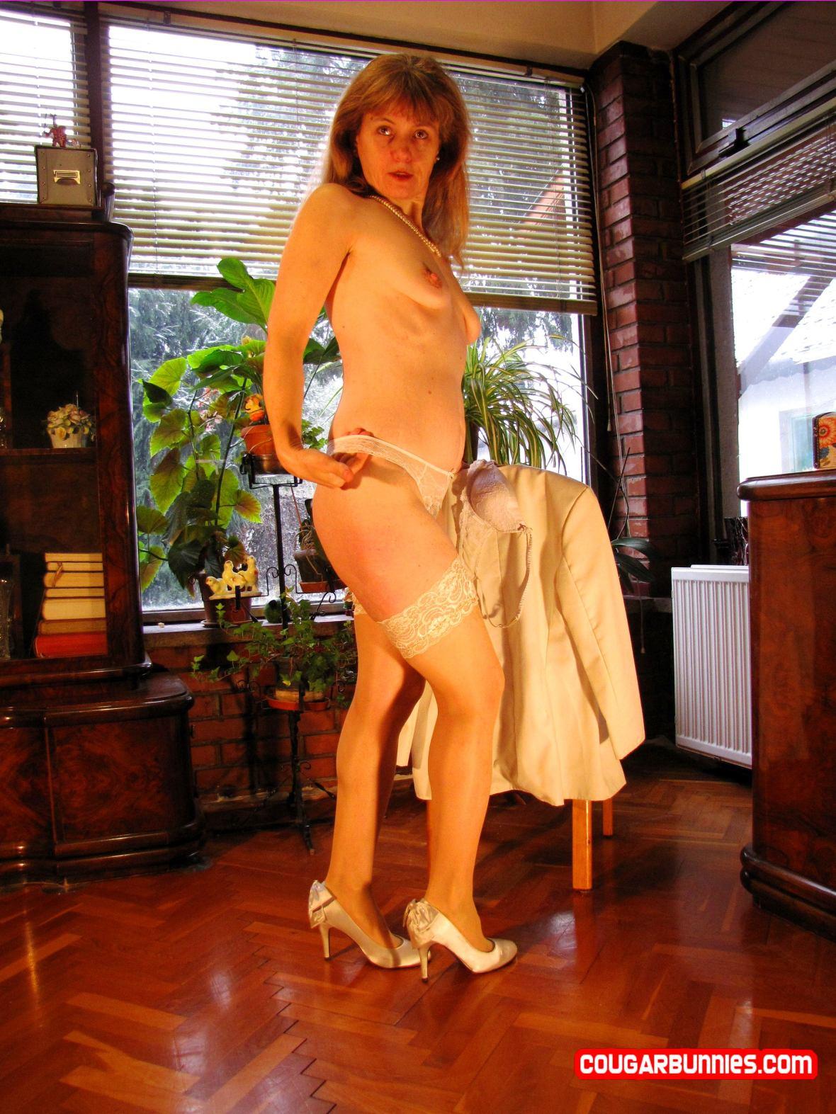 White coat, white lingerie - on CougarBunnies.com